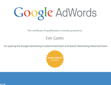 Tim Cohn Google AdWords Partner