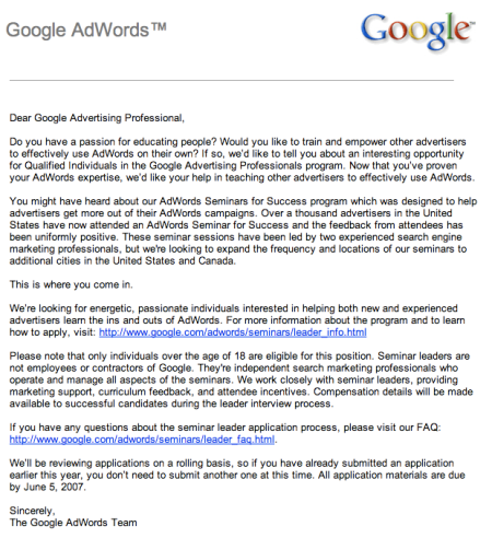 Adwords Seminar Leader