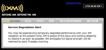 XM Service Degradation Notice
