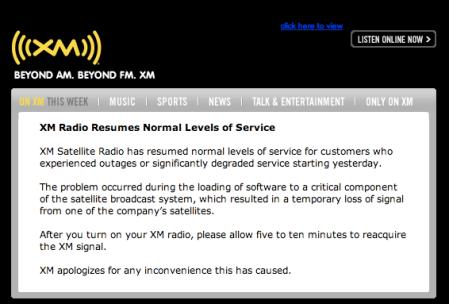 XM Radio Service
