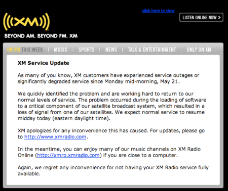 Xm Satellite Radio Outage