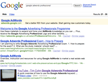 Google Adwords Professional