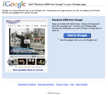 Elections 2008 from Google
