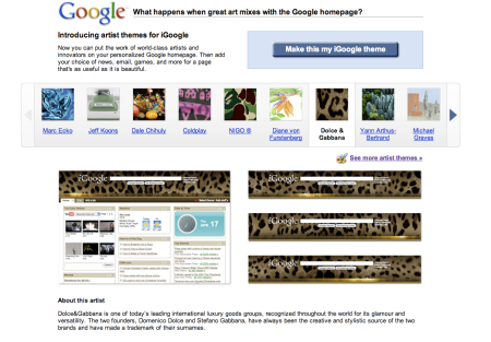iGoogle Artist Themes