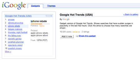 Google Hot Trends Gadget