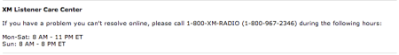 XM Listener Care Phone Number
