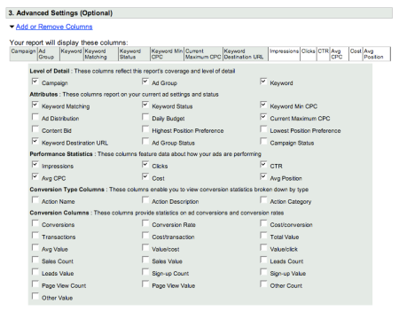 Adwords Quality Score Advanced Settings