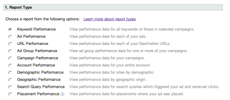 Adwords Quality Score Report Type
