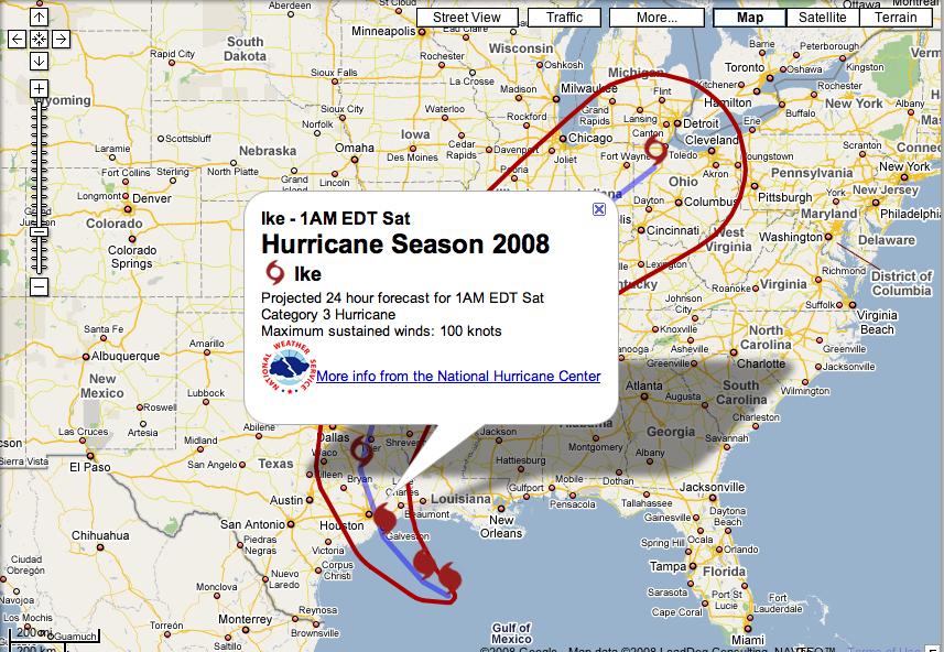 Galveston Texas Hurricane Ike on Google Maps | Search Marketing ...