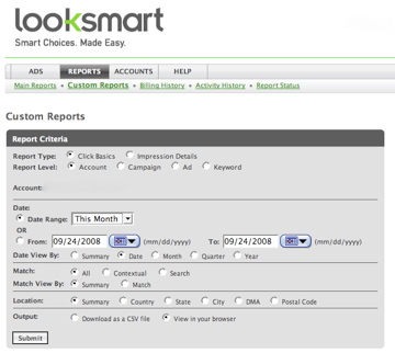 Looksmart Reporting
