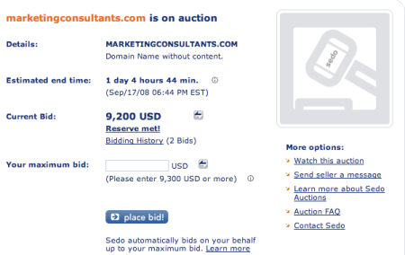 MarketingConsultants.com Sedo Auction