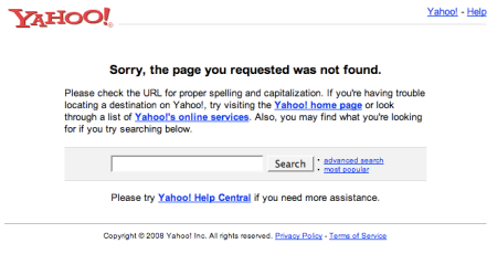 Yahoo Marketing Console 404 Not Found