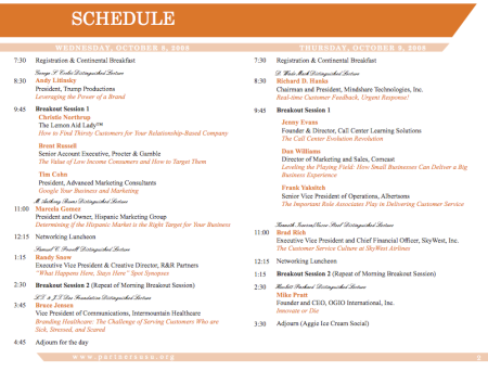 Customer Service Marketing Seminar Schedule