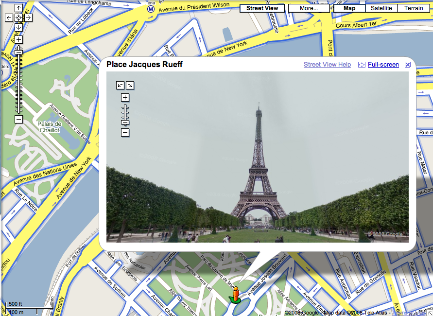 google street view eiffel tower paris france search marketing communications. Black Bedroom Furniture Sets. Home Design Ideas