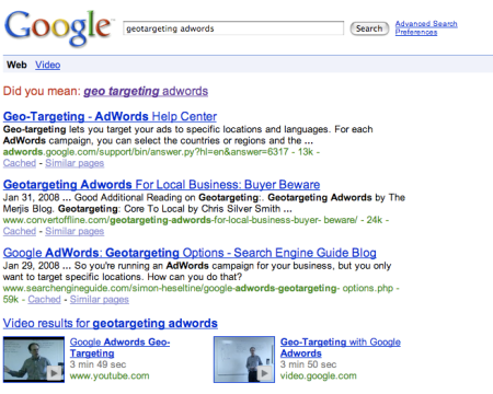 Geotargeting Adwords Two Video Results