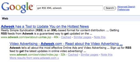 Google Search RSS XML