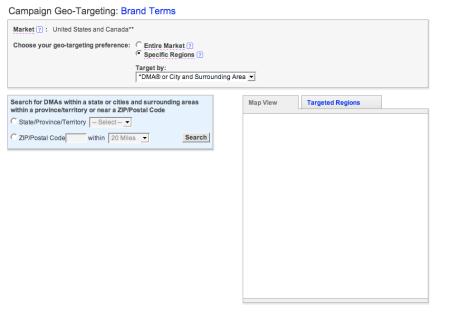 Yahoo Search Advertising Geotargeting Mapview