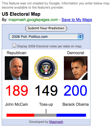 Interactive US Electoral College Map In Google Maps Search - Interacive us electoral map