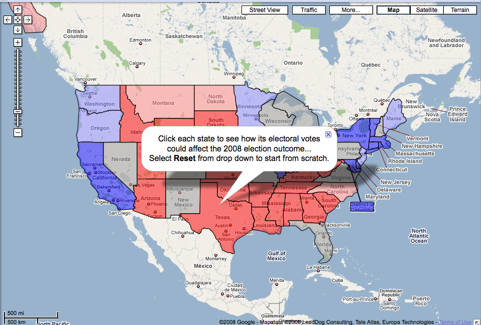 Interactive US Electoral College Map In Google Maps Search - Map of us interactive