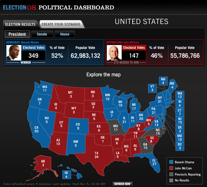 Final 2008 US Presidential Electoral Map Search Marketing