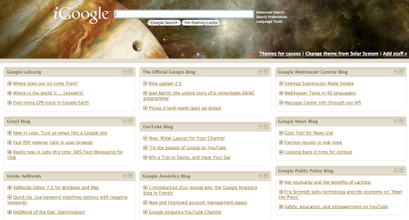 iGoogle RSS Blog Feeds