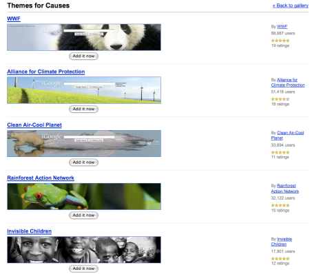 iGoogle Themes for Causes