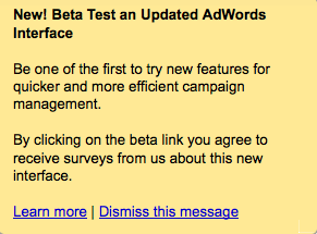 Google Adwords Updated Interface Beta