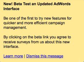 Google Adwords Updated Interface Beta