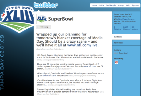 Super Bowl XLIII Twitter Account