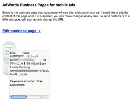 Adwords Business Pages for Mobile Ads