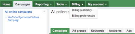 Google Adwords Beta Billing Tabs