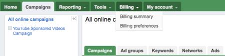 Google Adwords Beta Billing Tabs
