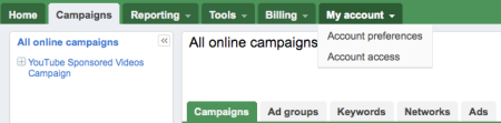 Google Adwords Beta My Account Tabs
