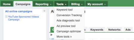 Google Adwords Beta Tools Tabs