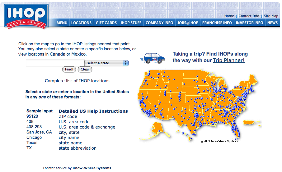 Find And Map IHOP Restaurant Locations With Know Where Systems - Us area code printable list