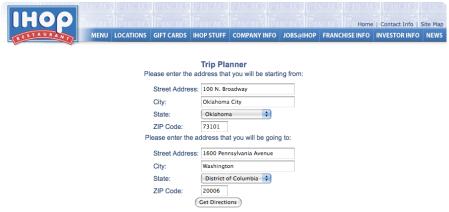 IHOP Trip Planner