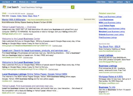 Microsoft Local Business Listings