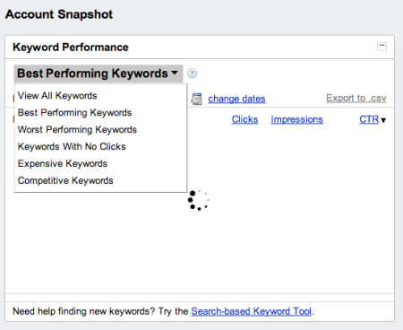 Account Snapshot Keyword Performance