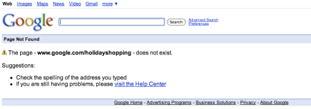 Google Holiday Shopping Page