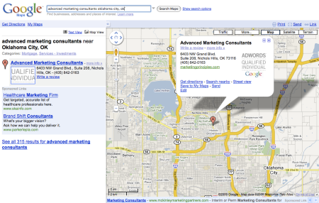Google Maps Sponsored Links