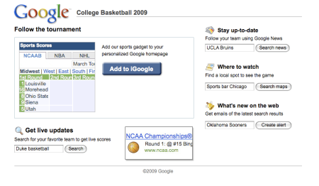 iGoogle Follow NCAA Tournament