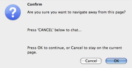 Browser Navigation Message