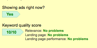 Google Adwords Quality Score 10