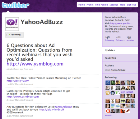 Yahoo Search Marketing Twitter
