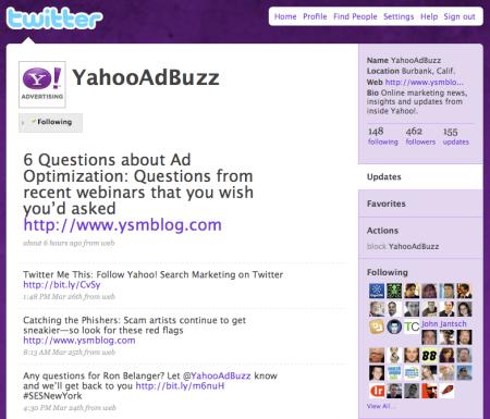 Yahoo Search Marketing Twitter