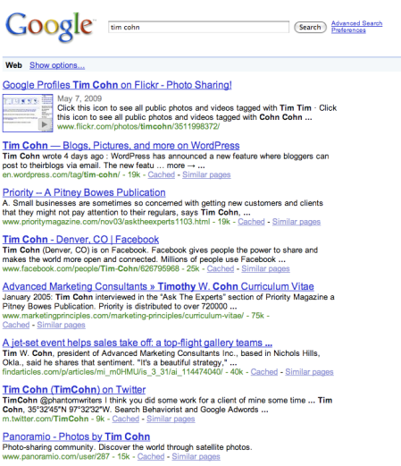 Flickr Images in Google Search Results