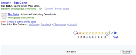 Google Profiles Search Results
