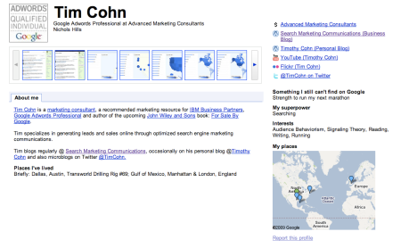 Google Profiles Tim Cohn