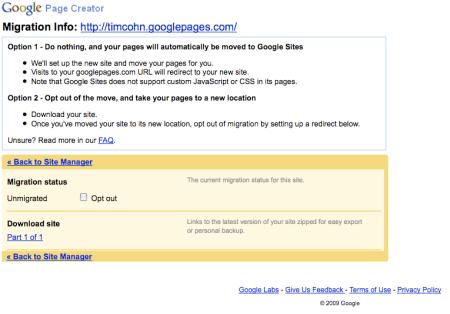 Google Page Creator Migration