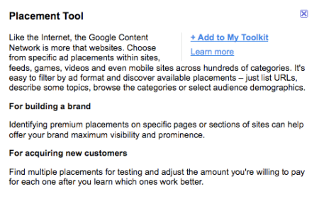 Google Placement Tool
